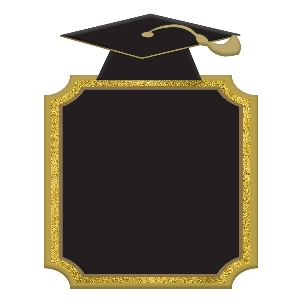 PANCARTA LG MDF CHLKBRD GRAD CAP