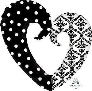FORMA DAMASK AND DOTS HEART (EMPAQUETADOS)