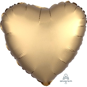 """18""""/45cm CORAZON Satin Gold Sateen Heart (EMPAQUETADOS)"""