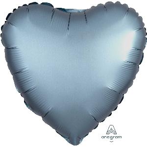 "18""/45cm CORAZON Satin Steel Blue Heart"
