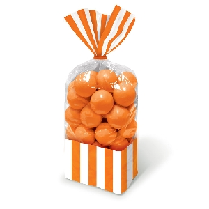 Bolsa Candy Buffet Striped Party Orange
