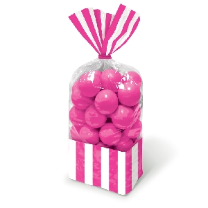 Bolsa Candy Buffet Striped Party Bright Pink