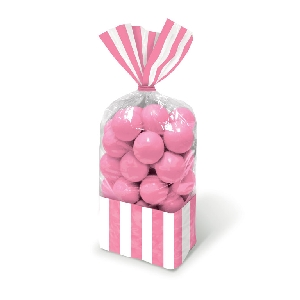 Bolsa Candy Buffet Striped Party Light Pink
