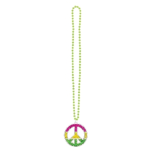 COLLAR PEACE SIGN BLING NEON