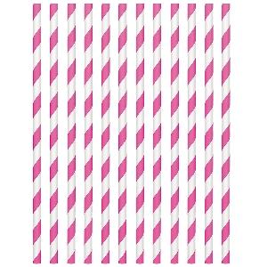 Pajitas Bright Pink Paper Straws 19cm