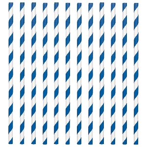 Pajitas Bright Royal Blue Paper Straws 19cm