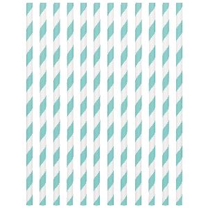 Pajitas Robin's Egg Blue Paper Straws 19cm
