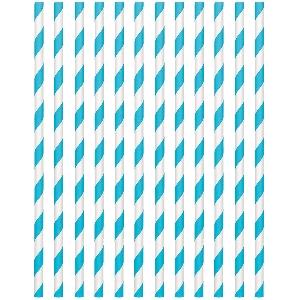 Pajitas Caribbean Blue Paper Straws 19cm