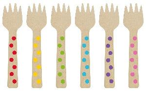 Mini Tenedores Rainbow Buffet Mini Wooden Forks