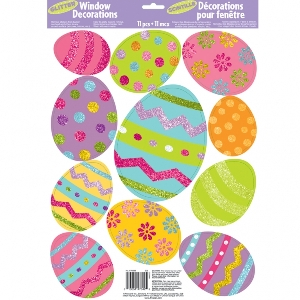Glitter Vinyl Window Stickers Easter Eggs