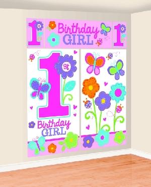 Decorado de pared Sweet Birthday Girl Scene Setters Kit