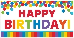 Banderin Primary Rainbow Happy Birthday Giant Party1.65m x 85cm