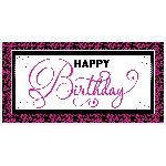 Banderin Black & Pink Happy Birthday Giant Party1.65m x 85cm
