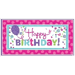 Banderin Pink & Teal Happy Birthday Giant Party1.65m x 85cm