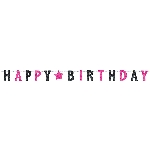 Banderin Black & Pink Happy Birthday Prismatic Letter 2.4m x 16cm