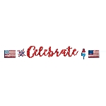 Banderin 4th of July Celebrate USA Glitter3.65m