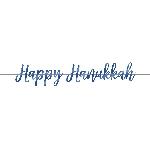 Banderin Happy Hanukkah Script Foil 3.65m