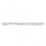 Banderin Happy Anniversary Silver Foil Letter2.3m x 15.8cm