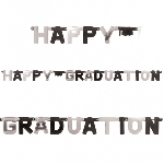Banderin Black & Silver Happy Graduation Foil Letter1.8m x 20cm