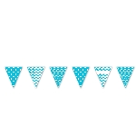 Banderin Caribbean Blue Dots & Chevron Large Pennant Banner 4m