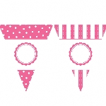 Banderin Paper Personalised Pennant Banner - Stripes & Dots Bright Pink