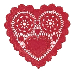 DOILIES pk12 25.4cm:HRT SP red