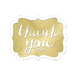 Tarjeta de Agradecimiento Gold Thank You Stickers