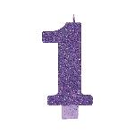 Vela Giant Talla Numeral Purple Glitter 13.3cm Nº1