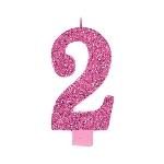 Vela Giant Talla Numeral Pink Glitter 13.3cm Nº2