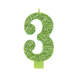 Vela Giant Talla Numeral Kiwi Green Glitter 13.3cm Nº3
