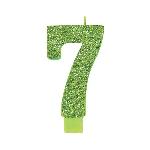 Vela Giant Talla Numeral Kiwi Green Glitter 13.3cm Nº7