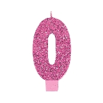 Vela Giant Talla Numeral Pink Glitter 13.3cm Nº0
