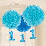 Decoracion Colgante Pompom 1st Birthday Blue Paper Fluffy Decorations
