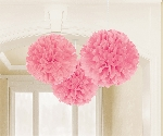 Decoracion Colgante Pompom Light Pink Fluffy Tissue Paper Decorations 40.6cm