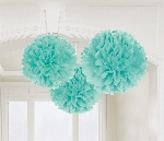 Decoracion Colgante Pompom Robin Egg Blue Fluffy Tissue Paper Decorations 40.6cm