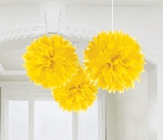 Decoracion Colgante Pompom Yellow Paper Fluffy Decorations 40cm