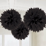 Decoracion Colgante Pompom Black Fluffy Pom Pom Decorations 40cm