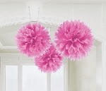 Decoracion Colgante Pompom Bright Pink Fluffy Paper Decorations 40cm