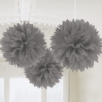 Decoracion Colgante Pompom Silver Fluffy Pom Pom Decorations 40cm