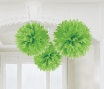 Decoracion Colgante Pompom Kiwi Green Paper Fluffy Decorations 40cm