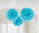 Decoracion Colgante Pompom Caribbean Blue Paper Fluffy Decorations 40cm
