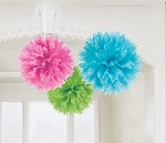 Decoracion Colgante Pompom Multi-Colours Paper Fluffy Decorations 40cm