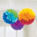Decoracion Colgante Pompom Rainbow Fluffy Paper Decorations 40cm