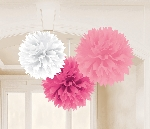 Decoracion Colgante Pompom Multi Colour Pink Fluffy Tissue Decorations 40.6cm