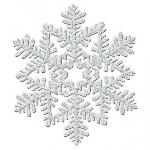 Hanging Decoration Snowflake Silver Glitter 16 cm