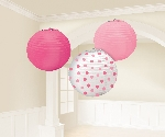 Farolillos Round Pink Paper Baby Girl Lanterns