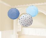 Farolillos Round Blue Paper Baby Boy Lanterns