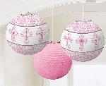 Farolillos Pink Paper Printed Lanterns