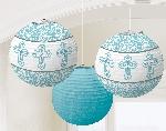 Farolillos Blue Paper Printed Lanterns