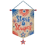Decoracion Colgante Pompom 4th July Canvas Banners 35cm x 56cm